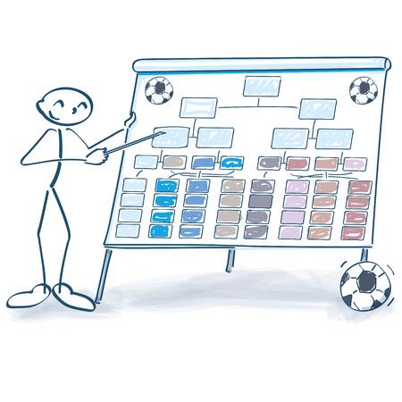 Stick figure explains a soccer table