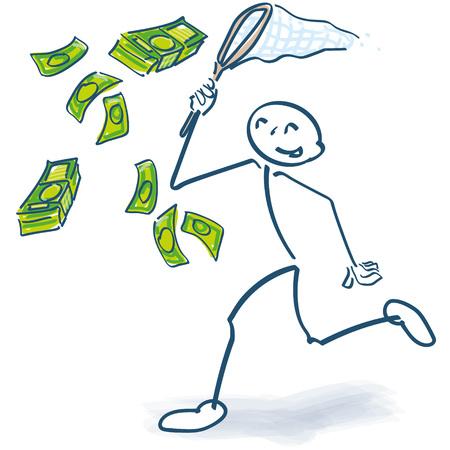 Stick figure starts with a cashier money