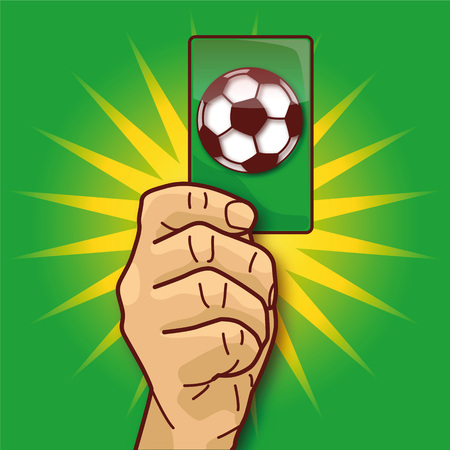Hand shows a green card with a soccer ball