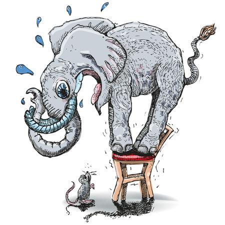 Słoń boi się myszy Ilustracje wektorowe