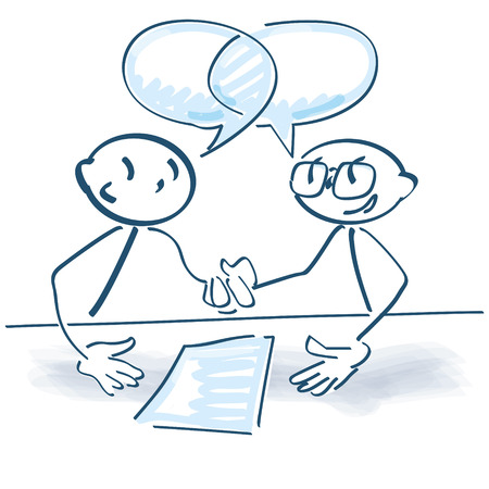 Stick figures shaking hands after a consultation Stock Illustratie