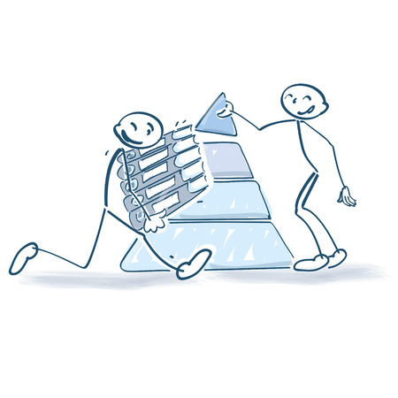 Stick figures with a pyramid and loads of files