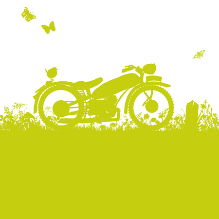 Old motorcycle in the grass Illustration