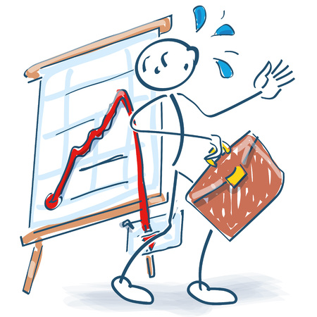 Stick figures are surprised by the bad curve on the flip chart