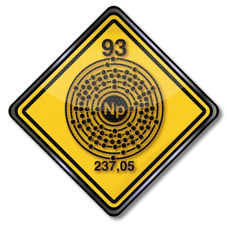 Chemistry shield and chemical symbol Neptunium