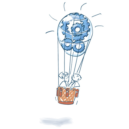 Stick figures in hot air balloon full of cogwheels