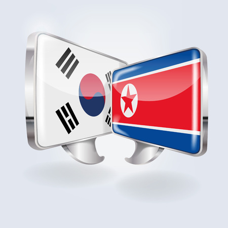 Speech bubbles with South Korea and North Korea