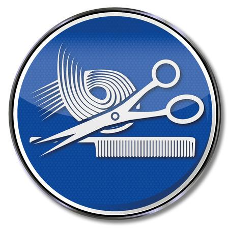 Hair stylist, curl, and men hairdresser Stock Illustratie