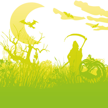 Grim reaper in the moonlight night with pumpkins and Halloween Illustration