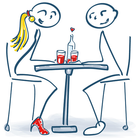 Stick figure at the first date at the romantic table