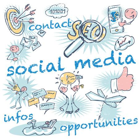 Stick figures and social media Standard-Bild - 110834169