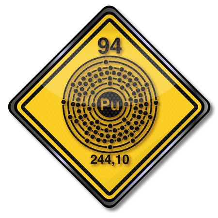 Chemistry shield and chemical symbol plutonium