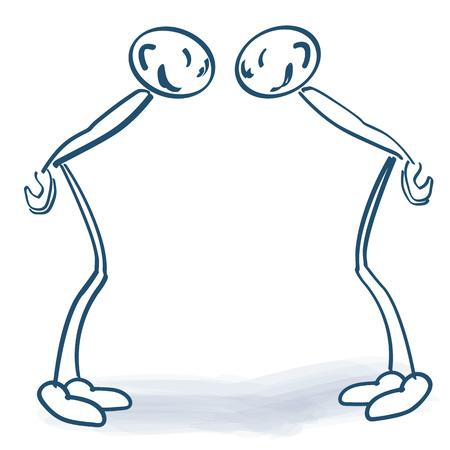 Zwei Strichmännchen von Angesicht zu Angesicht und schauen sich an Vektorgrafik