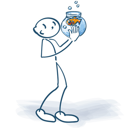 Stick figure with fish in a glass of water Illustration