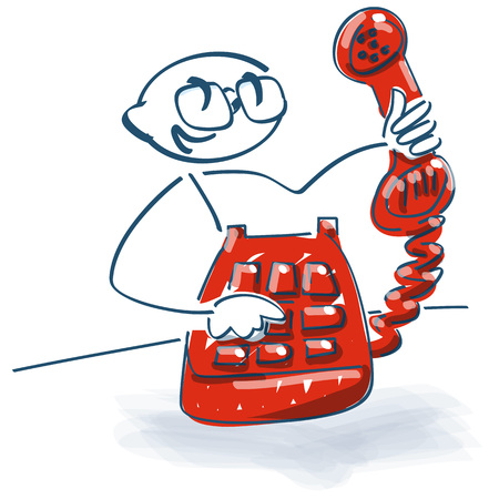 Stick figure with an old telephone with handset in hand Vektoros illusztráció