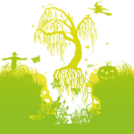 Halloween and flying tree in the air Illustration