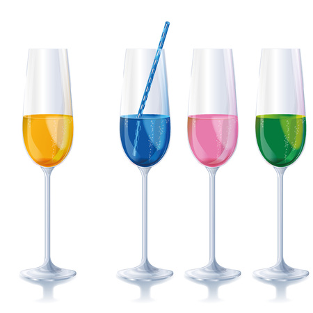 Four narrow different colored champagne glasses with drinking straw