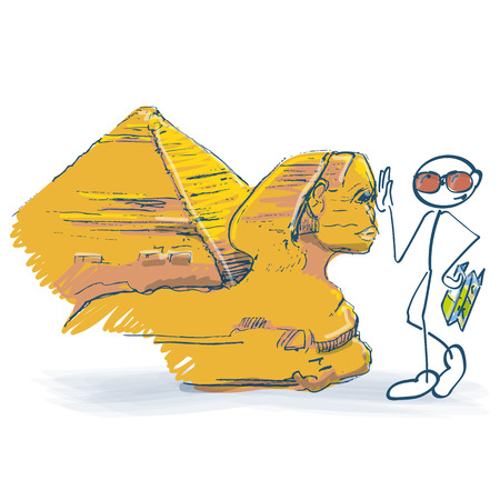 Stick figure as a tourist with sphinx in Egypt with pyramids