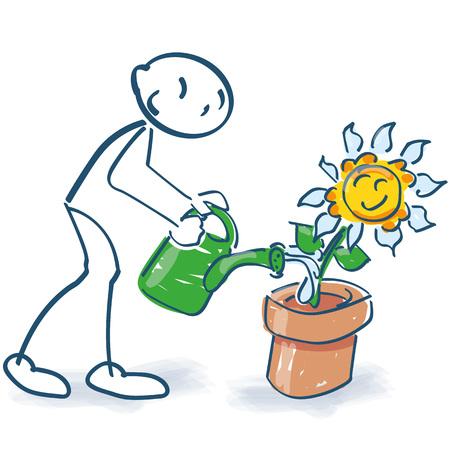 Stick figure waters with a semicolon flowerpot flowerpot Illustration