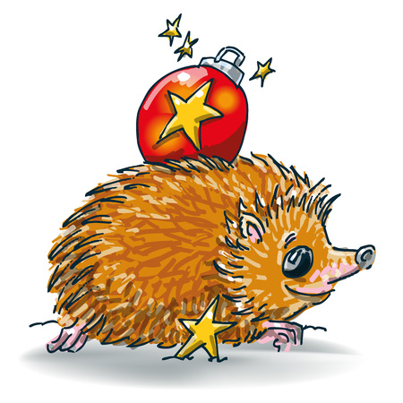 Little hedgehog with Christmas ball on his back
