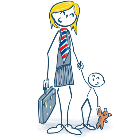 Stick figure as a female manager with child and career