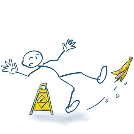 Stokfiguur glijdt uit op een banaan Vector Illustratie