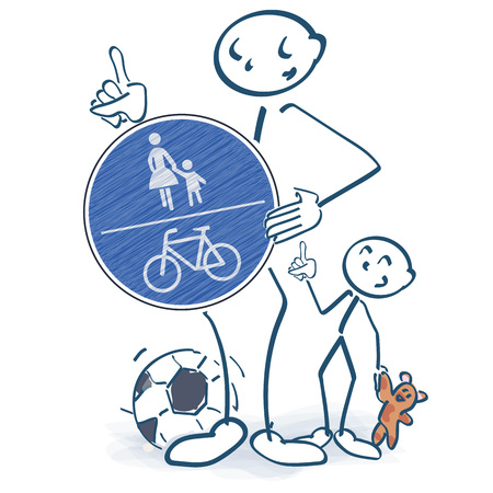 Stick figures with a pedestrian and bike path in front of the body 矢量图像