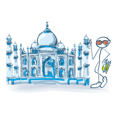 Stick figure as a tourist with Taj Mahal in India