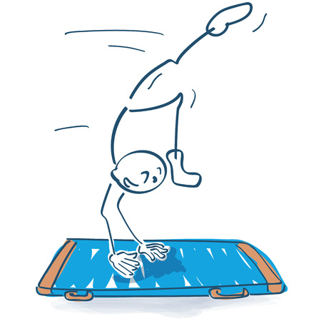 Stick figure jumps on the mat and makes a handstand