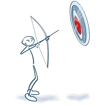 Stick figure aims a big target with bow and arrow Illustration
