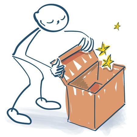 Stick figure looks into a box
