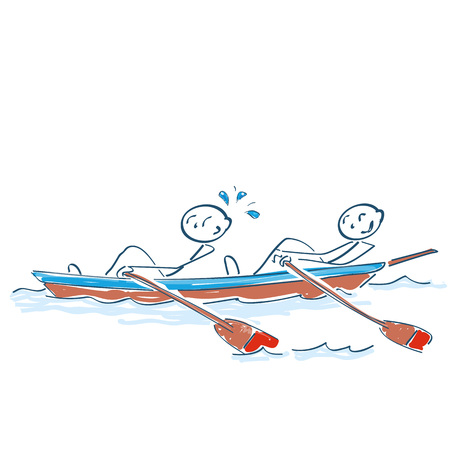 Stick figures sitting in the rowing boat are rowing