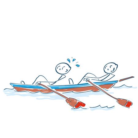 Strichmännchen sitzen im Ruderboot rudern Vektorgrafik