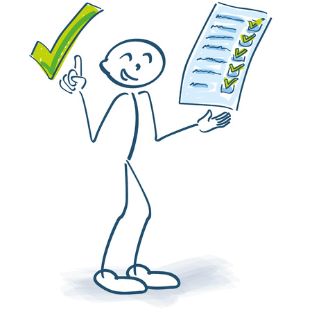Stick figure with clipboard checks a checklist and makes a green tick on it Illustration