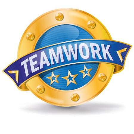 Bouton avec le travail d'équipe pour le succès