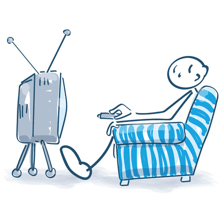 Stick figure is watching TV Banco de Imagens - 117790671