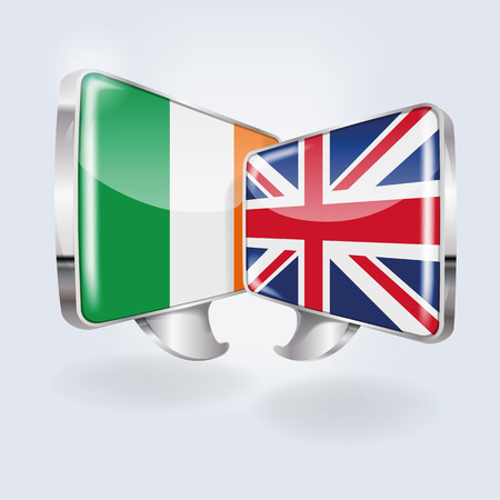 Speech bubbles with Ireland and England Vettoriali