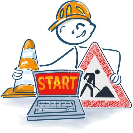 Strichmännchen mit Laptop eine Straßenmütze und Bauschild mit Start Vektorgrafik