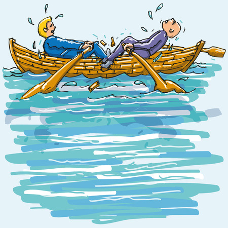 Two men rowing against each other in the rowboat