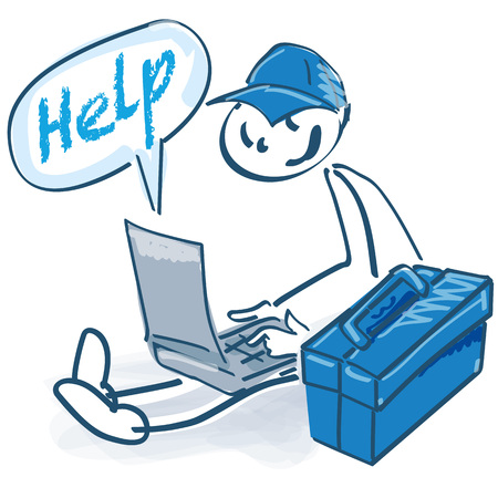 Stick figure as a craftsman with toolbox, laptop and help