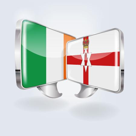 Speech bubbles with Ireland and Northern Ireland Vettoriali