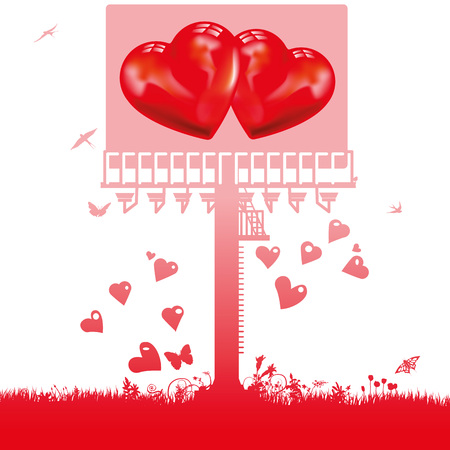 Large billboard with two hearts and love Stock Illustratie