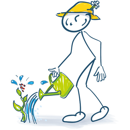 Stick figure with a semicolon jug and watering plants Stock Illustratie