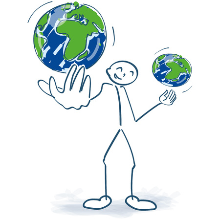 Stick figure juggles with two world globes
