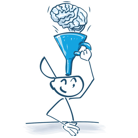 Stick figure funnels with a funnel knowledge with a brain