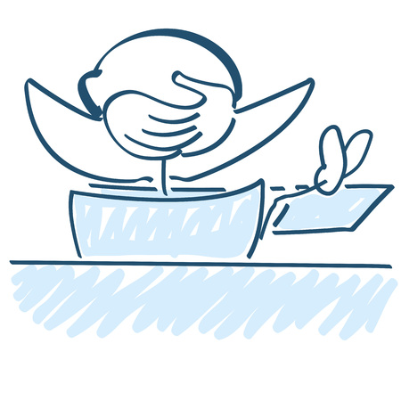 Stick figure with crossed arms and legs on the work table  イラスト・ベクター素材
