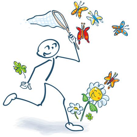 Stick figure captures butterflies and flowers with a landing net