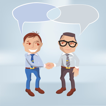 Males with speech bubbles and intersection Illustration