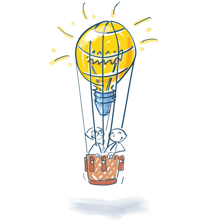 Stick figures in hot air balloon as a light bulb and many ideas