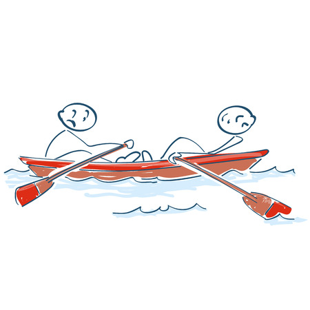 Stick figures rowing against each other in a boat,